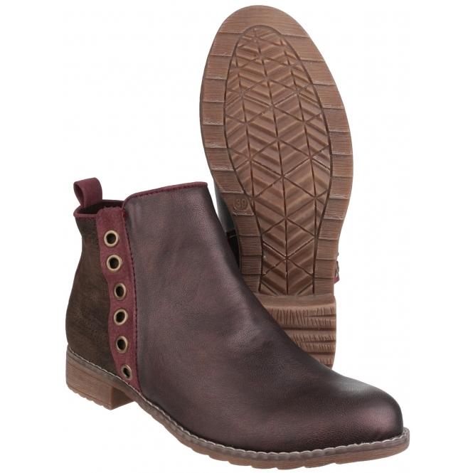 222931f840f Divaz DEMI Ladies Ankle Boots Burgundy | Shuperb