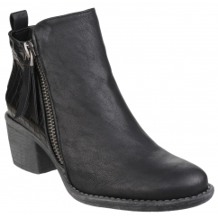 DENCH Ladies Faux Leather Zip Ankle Boots Black