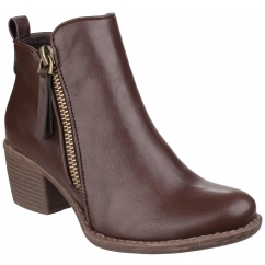 DENCH Ladies Faux Leather Zip Ankle Boots Brown