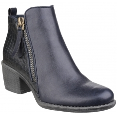 DENCH Ladies Faux Leather Zip Ankle Boots Navy