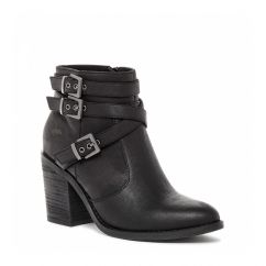 DEON Ladies Mid Heel Zip Strappy Ankle Boots Black