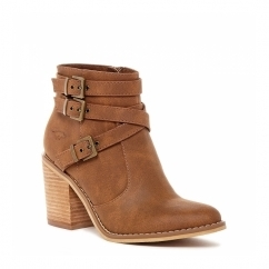 DEON Ladies Mid Heel Zip Strappy Ankle Boots Tan