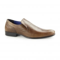 DERRY Mens Plain Leather Slip-On Shoes Tan