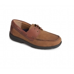 DEVON Mens Leather Extra Wide/Plus Boat Shoes Camel