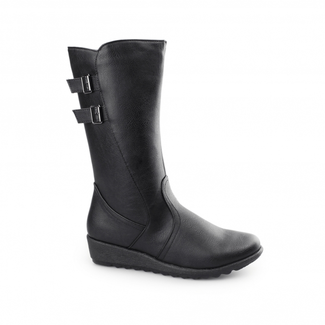 Dr Keller DIANA Ladies Side Zip Calf High Winter Boots Black