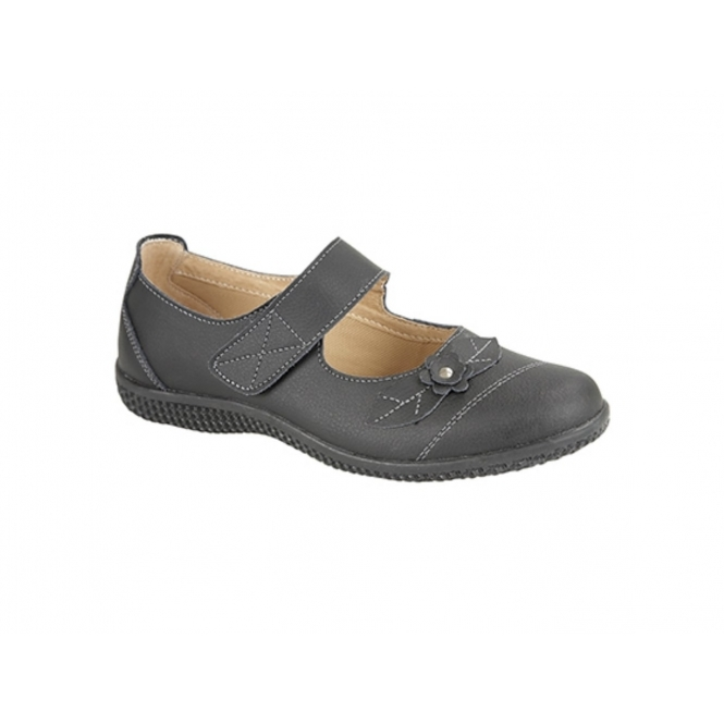 Boulevard DIANA Womens Leather Touch Fasten EEE Wide Mary Jane Shoes Black
