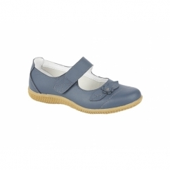 DIANA Womens Leather Velcro EEE Wide Fit Mary Jane Shoes Navy