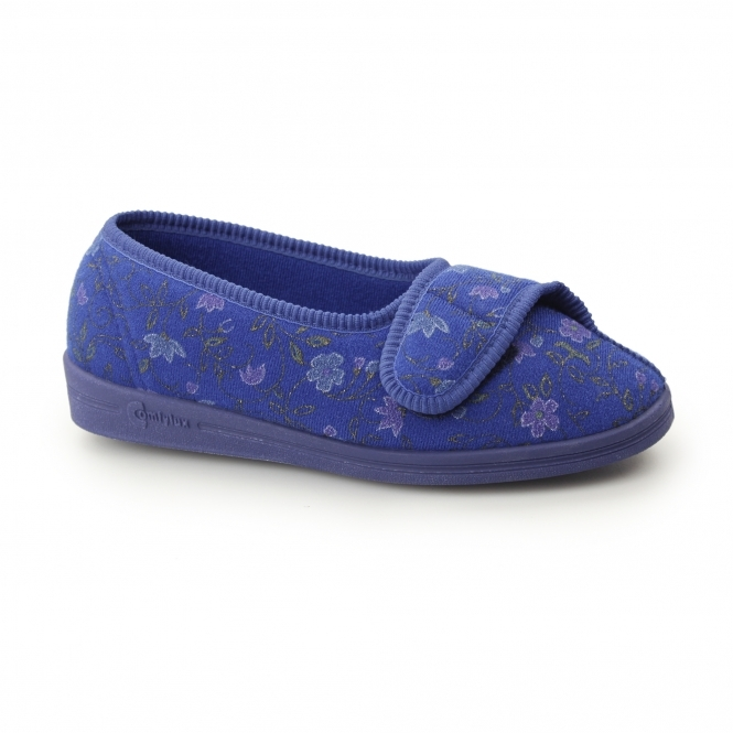 Comfylux DIANA Womens Wide Fit Velcro Floral Slippers Blue