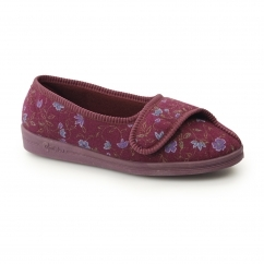 DIANA Womens Wide Fit Velcro Floral Slippers Wine