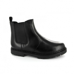 DION Boys Twin Gusset Leather School Chelsea Boots Black