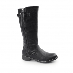 BARI Ladies Faux Leather Boots Black