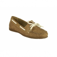 BELGRAVIA Ladies Moccasin Boat Shoes Tan