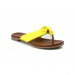 BRENTA Ladies Faux Leather Toe Post Sandals Yellow