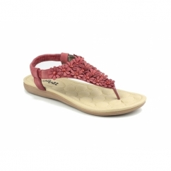 BRITNEY Ladies Slip-On Toe Post Sandals Red