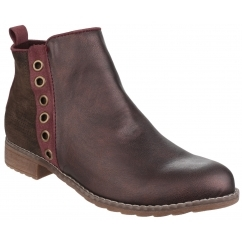DEMI Ladies Faux Leather Zip Ankle Boots Burgundy