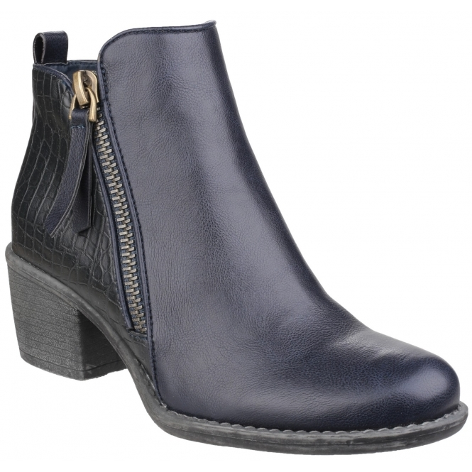 Divaz DENCH Ladies Faux Leather Zip Ankle Boots Navy