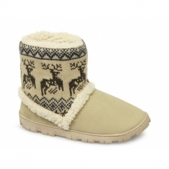 DENMARK Ladies Boot Slippers Beige