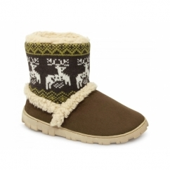 DENMARK Ladies Boot Slippers Brown