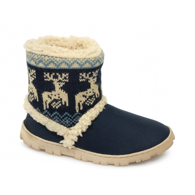 Divaz DENMARK Ladies Boot Slippers Navy