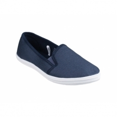 GARLAND Ladies Slip-On Canvas Plimsolls Navy