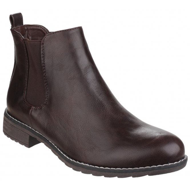 Divaz KELLY Ladies Pull On Chelsea Boots Brown