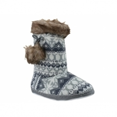 KIEV Ladies Nordic Faux Fur Bootie Slippers Grey