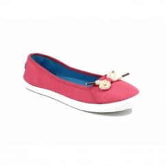 LOPEZ Ladies Canvas Ballerina Plimsolls Coral