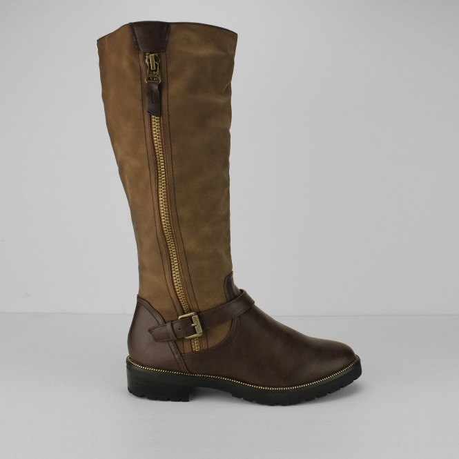 MANSON Ladies Faux Leather Riding Boots Brown