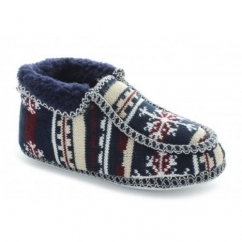 NORWAY Ladies Boot Slippers Navy/Grey