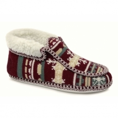 NORWAY Ladies Boot Slippers Red