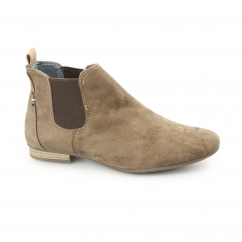 PISA Ladies Faux Suede Chelsea Boots Taupe