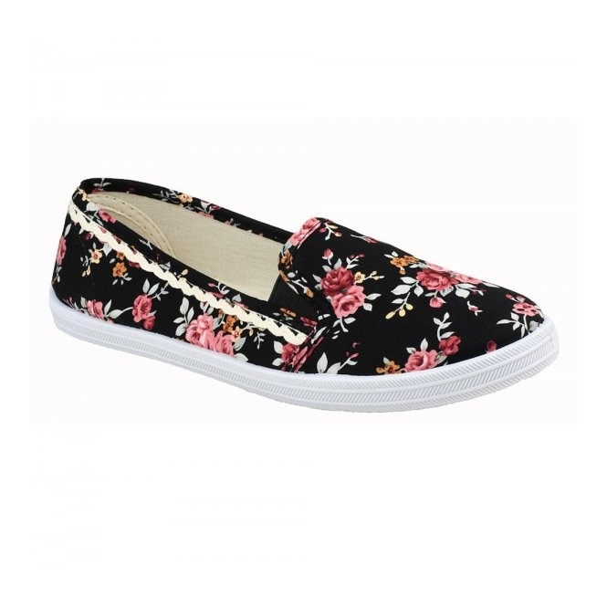 Divaz SWIFT Ladies Canvas Frilled Plimsolls Black
