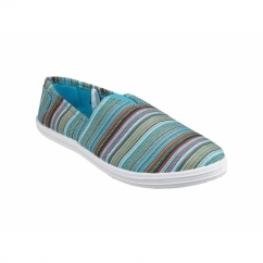 TAYLOR Ladies Multi Colour Canvas Plimsolls Green