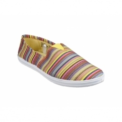 TAYLOR Ladies Multi Colour Canvas Plimsolls Yellow