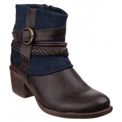VADO Ladies Side Zip Ankle Cowboy Boots Navy
