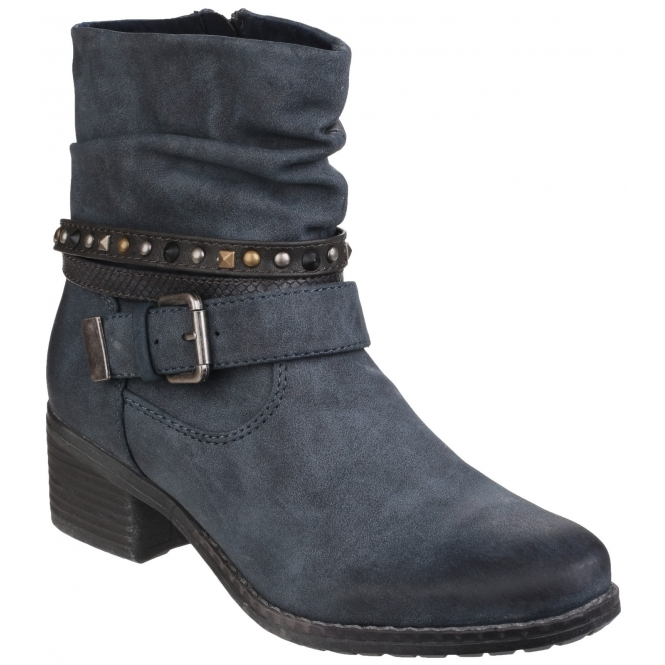 Divaz WEST Ladies Side Zip Slouch Boots Navy