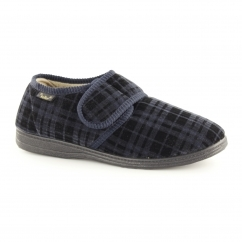 DON Mens Touch Fasten Comfy Slippers Navy