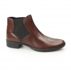 DONITA Ladies Leather Chelsea Boots Red