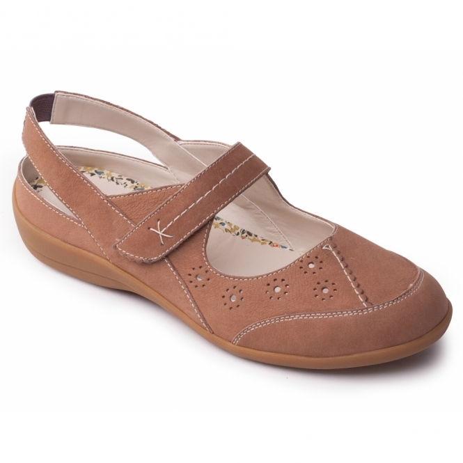 Padders DONNA Ladies Leather Extra Wide Velcro Shoes Beige