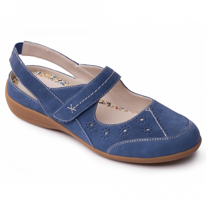 Padders DONNA Ladies Leather Extra Wide Velcro Shoes Denim Blue