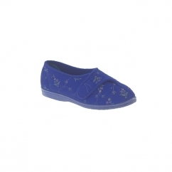 DORA Ladies Wide Fit Velcro Floral Slippers Navy