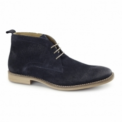DORE Mens Casual Lace-Up Suede Leather Desert Boots Navy