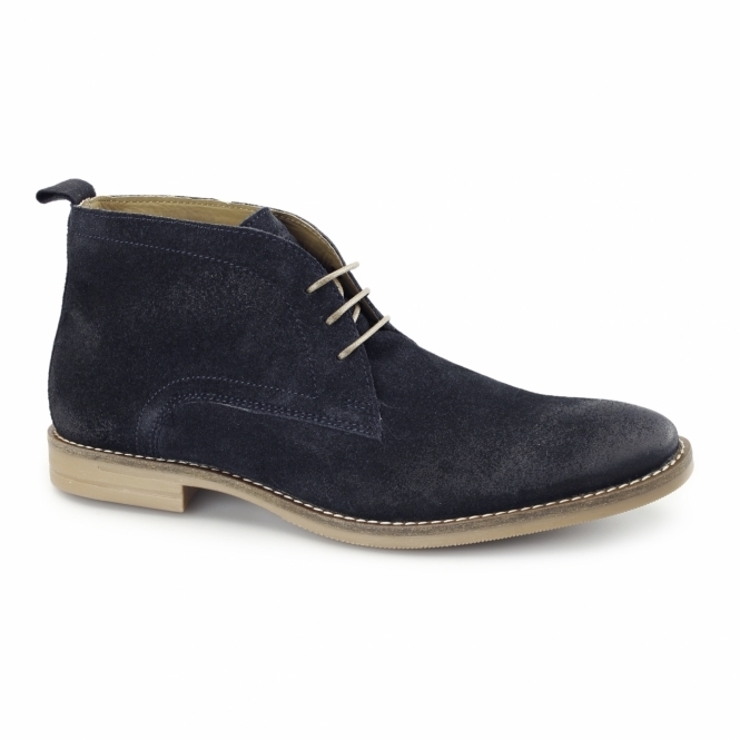 Base London DORE Mens Dirty Suede Leather Desert Boots Navy