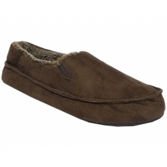 DR JUSTIN Mens Warm Moccasin Wide Slippers Brown