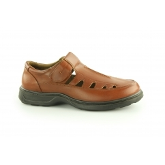 BENEDICT Mens Touch Fasten Shoes Brown