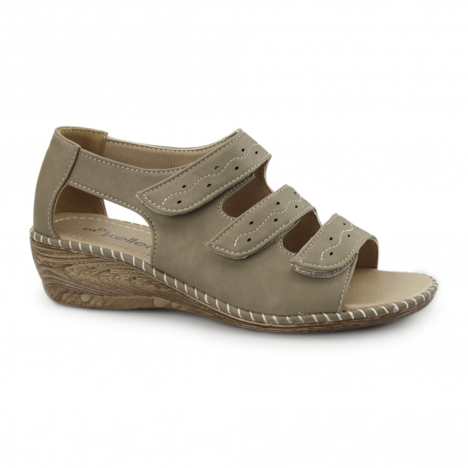 Dr Keller DAWN Ladies Triple Touch Fasten Wedge Shoes Stone