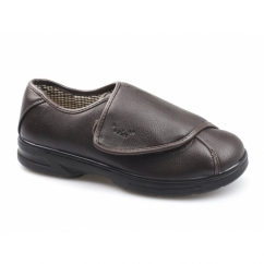 GARRETT Mens Faux Leather Dual Wide Fit Touch Fasten Shoes Brown