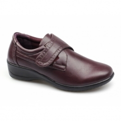 GINA Ladies Faux Leather Touch Fasten Shoes Burgundy