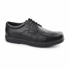 JEFFREY Mens Leather Lace Up Shoes Black
