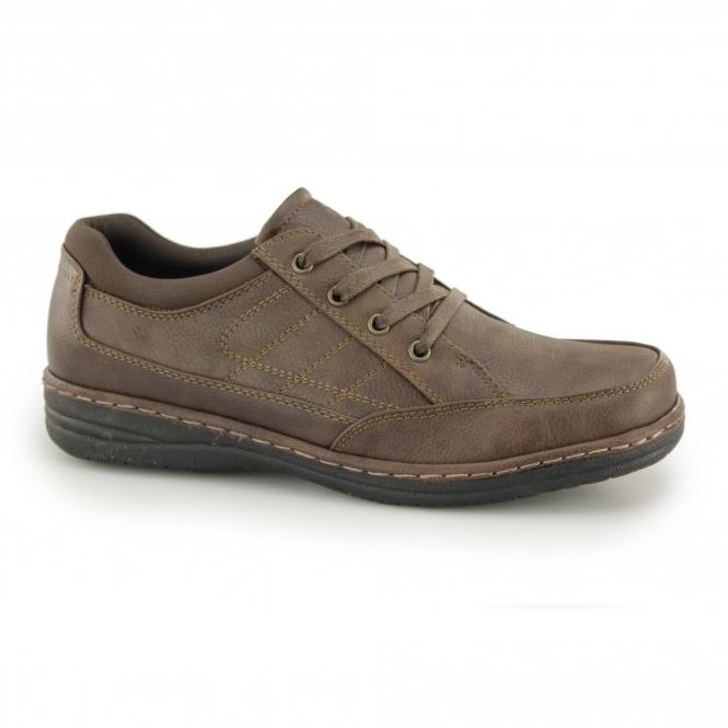 JERICHO Mens Lace Up Wide Fit Shoes Brown